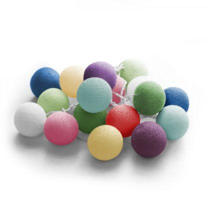 20 LED Cotton balls με μπαταρία & χρονοδιακόπτη (Happy) - Χριστουγεννιάτικα Λαμπάκια - 27-00425