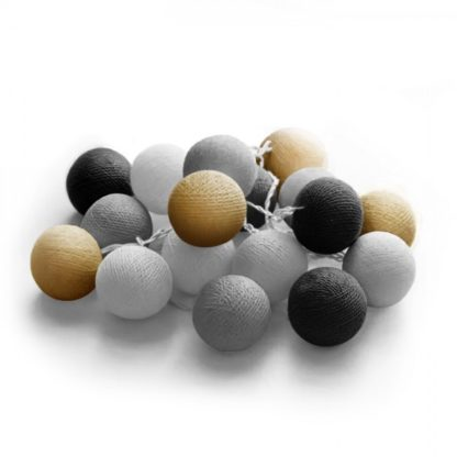 20 LED Cotton balls με μπαταρία & χρονοδιακόπτη (Night) - Χριστουγεννιάτικα Λαμπάκια - 27-00421