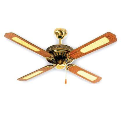 Ανεμιστήρας οροφής διακοσμητικός χωρίς φως Φ130cm 3 ταχυτήτωνσε χρυσό-καφέ ξύλινο χρώμα LINEME 02-00109-8