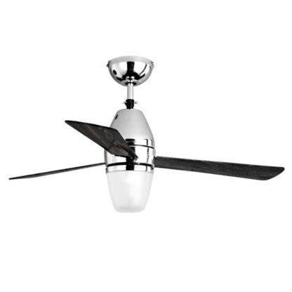 Ανεμιστήρας οροφής LED TRINITI τηλεχειριζόμενος ισχύος 55W Φ110cm 3 ταχυτήτων σε νίκελ-μαύρο ξύλινο LINEME 02-00127