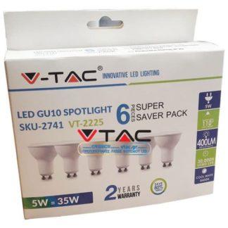 Λάμπα LED Spot GU10 SMD 5W Θερμό λευκό 3000K Λευκό συσκευασία 6 τμχ. vtac 2739