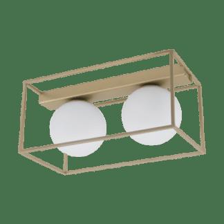 Φωτιστικό Οροφής Δίφωτο 2x 40W Σε Σαμπανιζέ & Λευκό Χρώμα Eglo Vallaspra 97792