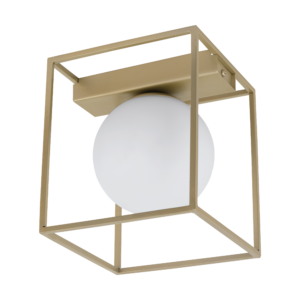 Φωτιστικό Οροφής Μονόφωτο 1x 40W Σε Σαμπανιζέ & Λευκό Χρώμα Eglo Vallaspra 97791