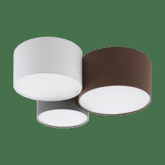 Φωτιστικό Οροφής - Πλαφονιέρα Τρίφωτο 3x 60W σε ανθρακίτης-καφέ, λευκό, γκρι χρώμα Eglo Pastore 97479