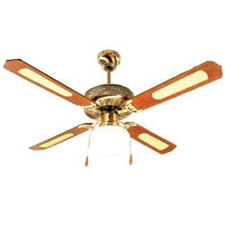 Ανεμιστήρας οροφής διακοσμητικός Μονόφωτος 60W 3 ταχυτήτων σε Χρυσό/Καφέ ξύλινο LINE ME 02-00103-6