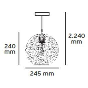Κρεμαστό Φωτιστικό ισχύος 60W Φ245mm Μεταλλικό με Θερμό Λευκό φώς VK 75169-228115