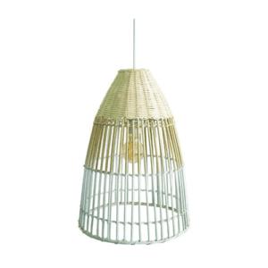 Κρεμαστό Φωτιστικό οροφής Φ35 από μπαμπού σε λευκό χρώμα & ξύλο VK 75169-235115