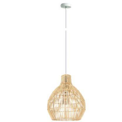 Κρεμαστό Φωτιστικό οροφής Φ35 από Rattan/Metal σε ανοιχτό καφέ χρώμα VK 75169-477724