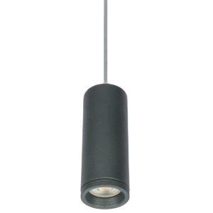 Κρεμαστό φωτιστικό Μονόφωτο Φ60 μεταλλικό κυλινδρικό με πλαίσιο από αλουμίνιο σε ανθρακί χρώμα VK 64174-347269