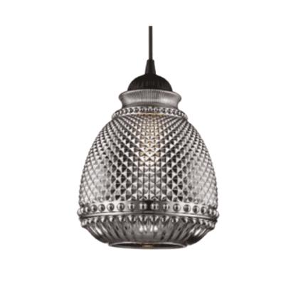 Κρεμαστό φωτιστικό 60w από και γυαλί Φ180mm σε καφέ & γκρί χρώμα VK 64174-886697
