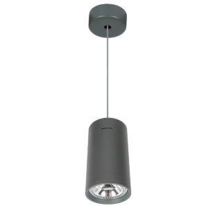 Κρεμαστό φωτιστικό Φ120 μεταλλικό κυλινδρικό με πλαίσιο από αλουμίνιο σε ανθρακί χρώμα VK 64174-370269