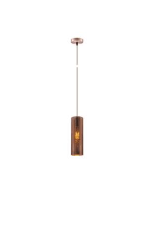 Κρεμαστό φωτιστικό οροφής Φ10cm ισχύος 10W μεταλλικό & PVC σε χάλκινο χρώμα VK 75169-013733