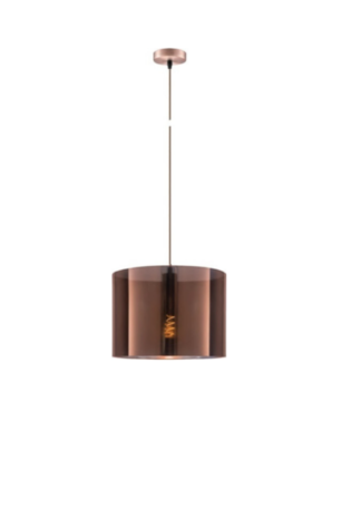 Κρεμαστό φωτιστικό οροφής Φ35cm ισχύος 10W μεταλλικό & PVC σε χάλκινο χρώμα VK 75169-015733