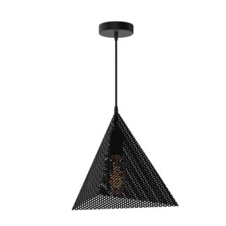 Κρεμαστό φωτιστικό κώνος μεταλλικό διάτρητο σε χρώμα μαύρο TOP-910-1