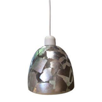 Κρεμαστό φωτιστικό με γυαλί και καλώδιο με Ασημένιο Φύλλο, διαμ.17cm TA-186917SL