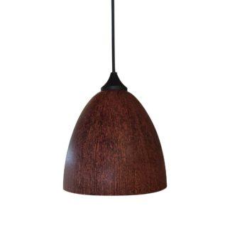 Κρεμαστό φωτιστικό με γυαλί και καλώδιο σε καφέ χρώμα & διαμ.17cm TA-186917ΒS