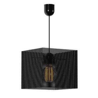 Κρεμαστό φωτιστικό μονόφωτο τετράγωνο μεταλλικό διάτρητο σε χρώμα μαύρο TOP-914-1