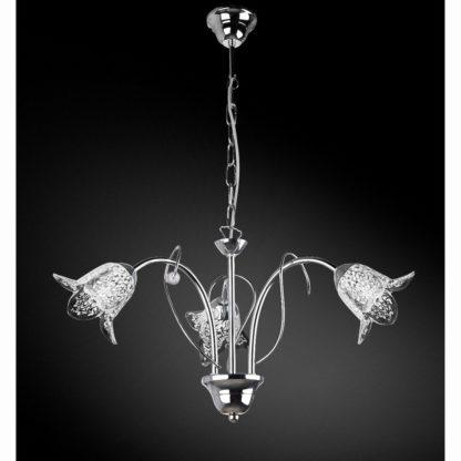 Κρεμαστό φωτιστικό τρίφωτο μεταλλικό, χρώμιο με γυαλιά, διαμ. 50cm, TOP-1620-3PI