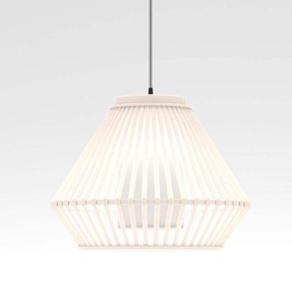 Κρεμαστό φωτιστικό Osaka διάμ.36cm σε λευκό χρώμα μπαμπού-ξύλο, WEB-662