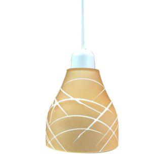 Κρεμαστό φωτιστικό με γυαλί και καλώδιο σε πορτοκαλί χρώμα με διαμ.14cm TA-68414HS