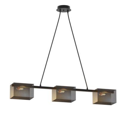 Κρεμαστό φωτιστικό ράγα τετράγωνο μεταλλικό διάτρητο σε χρώμα μαύρο TOP-915-3