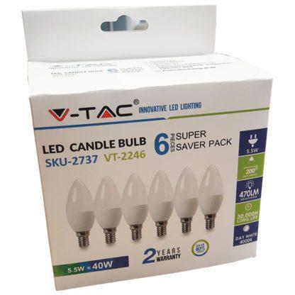 Λάμπα LED E14 Κερί SMD 5.5W Λευκό 6400K συσκευασία 6 τμχ. v-tac 2738