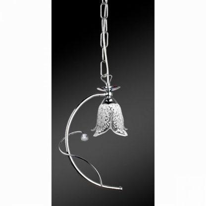 Κρεμαστό φωτιστικό μονόφωτο μεταλλικό, χρώμιο με γυαλιά, TOP-1620-1CI