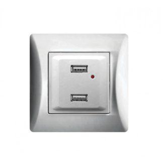 ΔΙΠΛΗ ΠΡΙΖΑ USB ΑΣΗΜΙ 2.1A LINEME H SERIES 50-00139-5
