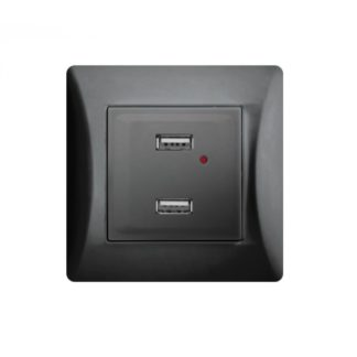 ΔΙΠΛΗ ΠΡΙΖΑ USB ΜΑΥΡΗ 2.1A LINEME H SERIES 50-00139-2