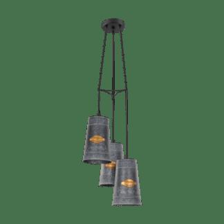 Κρεμαστό φωτιστικό Τρίφωτο 3xE27 σε χρώμα μαύρο & χρυσό EGLO Honeybourne 43108