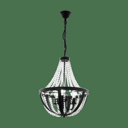 Κρεμαστό φωτιστικό οροφής-Πολυέλαιος με κρύσταλλα Φ500mm 1xE27 σε μαύρο χρώμα Eglo Barnaby 1 49539