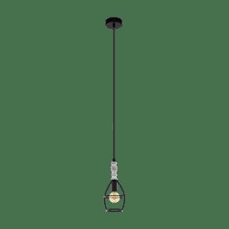 Κρεμαστό φωτιστικό 1xE14 Φ120mm σε χρώμα λευκό & καφέ EGLO Itchington 33016