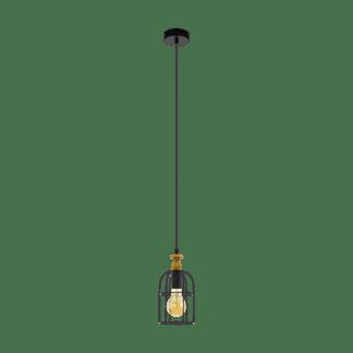 Κρεμαστό φωτιστικό 1xE27 Φ135mm σε χρώμα καφέ EGLO BAMPTON 33041