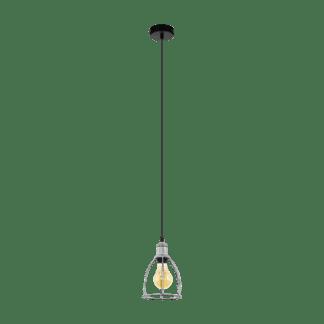 Κρεμαστό φωτιστικό 1xE27 Φ160mm σε χρώμα ασημί & μαύρο eglo wraxall 33022