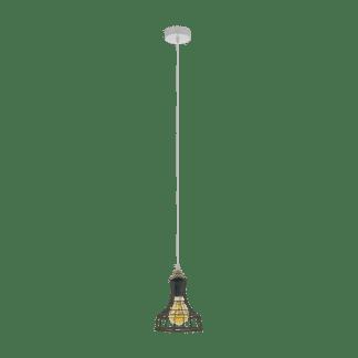 Κρεμαστό φωτιστικό 1xE27 Φ180mm σε χρώμα γκρί-πατίνα EGLO Itchington 33035