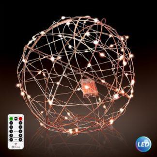 Φωτιζόμενη LED Μπάλα Φ50cm χάλκινο με μπαταρία & τηλεχειριστήριο με 8 λειτουργίες 27-00288