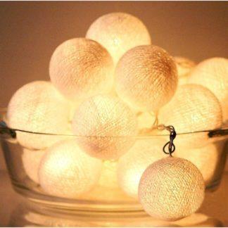 20 LED Cotton balls με μπαταρία & χρονοδιακόπτη Λευκές Pure 27-00441
