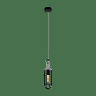 Κρεμαστό φωτιστικό 1xE14 Φ115mm σε λευκό & καφέ χρώμα EGLO Itchington 33017