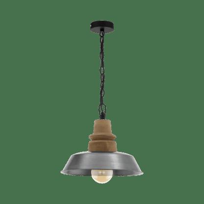 Κρεμαστό φωτιστικό 1xE27 Φ360mm σε καφέ-ασημί χρώμα EGLO RIDDLECOMBE 33024
