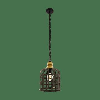 Kρεμαστό φωτιστικό Φ315mm E27 σε μαύρο-καφέ χρώμα EGLO Oldcastle 49785