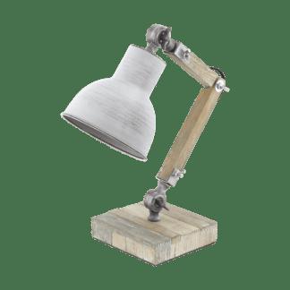 Eεπιτραπέζιο φωτιστικό 14x43cm 1xE27 σε λευκό χρώμα και ξύλο Eglo stringston 33007