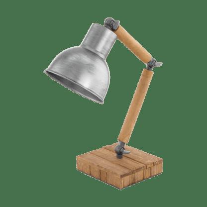 Eπιτραπέζιο φωτιστικό 14x42cm 1xE27 σε ασημί-καφέ χρώμα από ξύλο Eglo stringston 33006