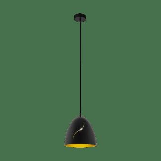Κρεμαστό φωτιστικό VINTAGE Φ275mm 1xE27 σε χρώμα μαύρο/χρυσό EGLO Hunningham 49093