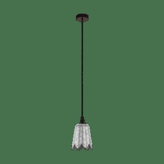 Κρεμαστό φωτιστικό 1xE27 Φ180mm σε χρώμα καφέ/ασημί EGLO Karhold 43097