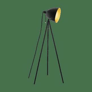 Επιδαπέδιο φωτιστικό VINTAGE 1xE27 σε μαύρο /χρυσό EGLO hunningham 43008