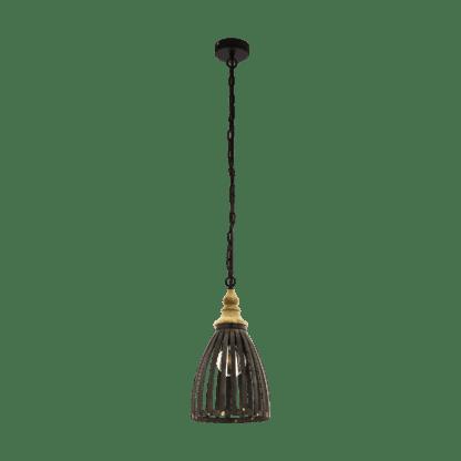 Kρεμαστό φωτιστικό Φ255mm E27 σε μαύρο-καφέ χρώμα EGLO Oldcastle 49786