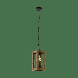 Κρεμαστό φωτιστικό 1xE27 σε χρώμα μαύρο/καφέ EGLO Takhira 43015