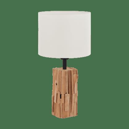 Επιτραπέζιο φωτιστικό πορτατίφ ξύλινο 1x 40W Φ260mm λευκό & μαύρο Eglo PORTISHEAD 43212