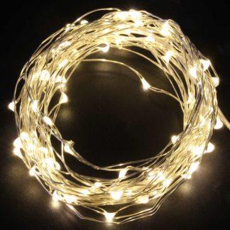 Φωτάκια σε σύρμα ασημί 100 LEDs 10m σε θερμό φως με τροφοδοτικό & Controller με 8 λειτουργίες 27-00304
