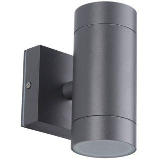 Φωτιστικό Αλουμινίου Τοίχου IP54 διπλής κατεύθυνσης (2xGU10) D65x145mm Ανθρακί Χρώμα vk 75169-186997